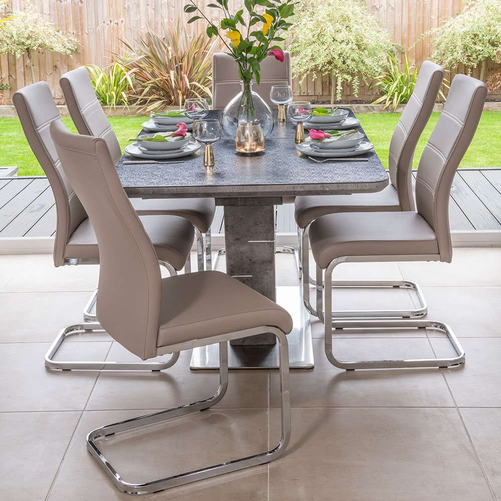 Product photograph showing Urban Deco Rimini Ceramic Effect Black Glass 160cm Extending Dining Set With Malibu Beige Chairs