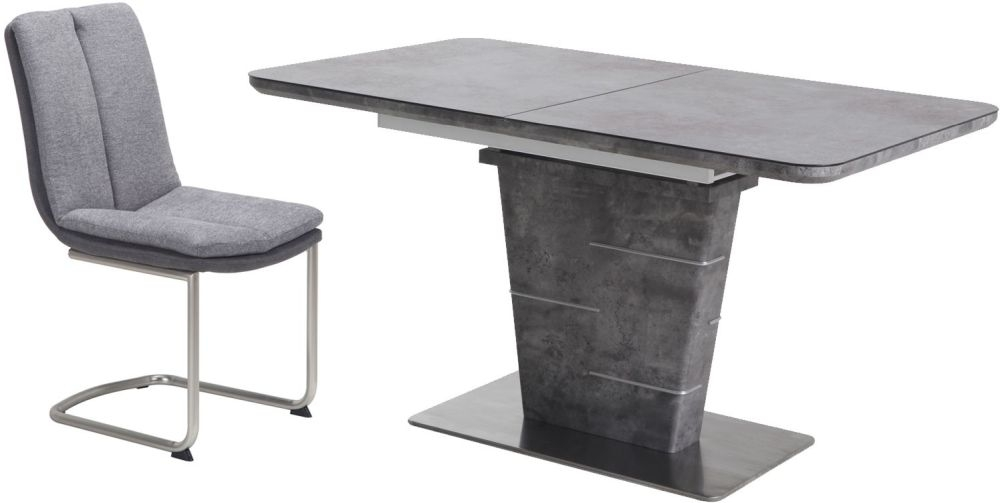 Urban Deco Rimini Extending Grey Dining Table and Tucson Grey Chairs