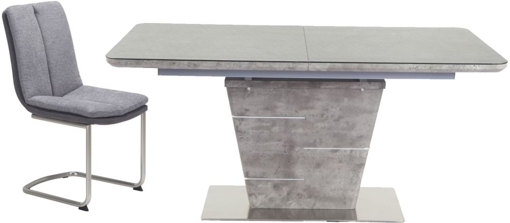 Urban Deco Rimini Extending Taupe Dining Table and Tucson Grey Chairs