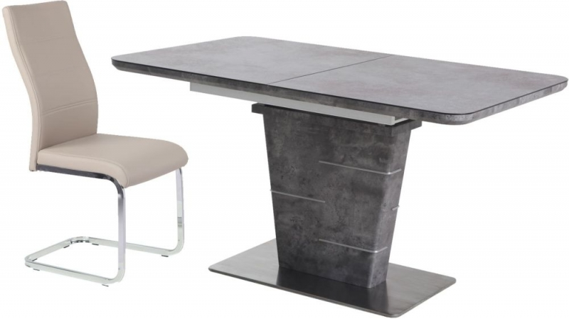 Urban Deco Rimini Extending Grey Dining Table and Malibu Beige Dining Chairs