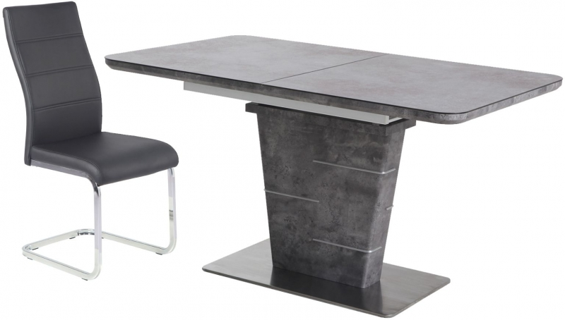 Urban Deco Rimini Extending Grey Dining Table and Malibu Black Chairs