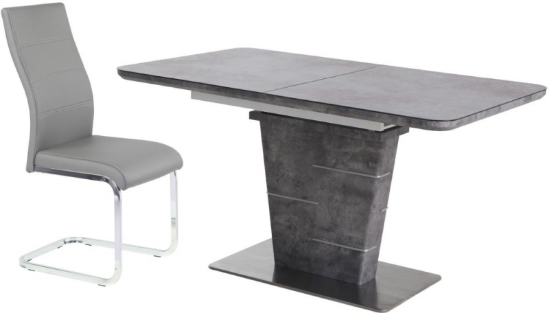Urban Deco Rimini Extending Grey Dining Table and Malibu Grey Chairs