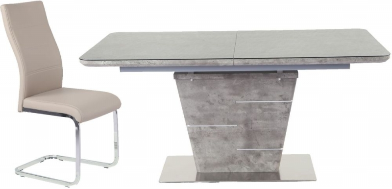Urban Deco Rimini Extending Taupe Dining Table and Malibu Beige Dining Chairs