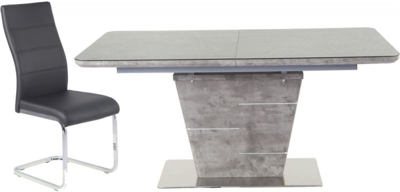 Urban Deco Rimini Extending Taupe Dining Table and Malibu Black Chairs