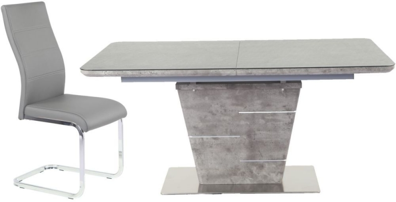 Urban Deco Rimini Extending Taupe Dining Table and Malibu Grey Chairs