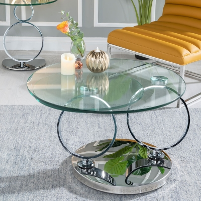 Urban Deco Rings Glass and Chrome Rotating Coffee Table