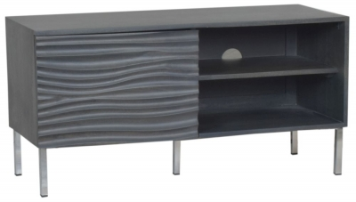 Ripple Wave Charcoal Grey Small TV Entertainment Unit