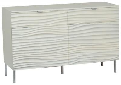 Ripple Wave Bone White Small Sideboard - 2 Door