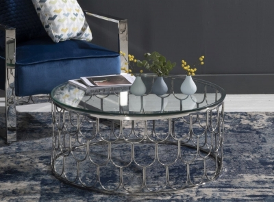 Riviera Round Glass Coffee Table - Stainless Steel Chrome Base