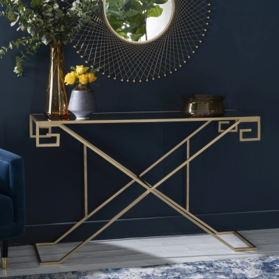 Roma Gold Console Table - Mirrored Top