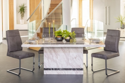 Urban Deco Rome Cream Marble 160cm Rectangular Dining Set with Donatella Grey Chairs