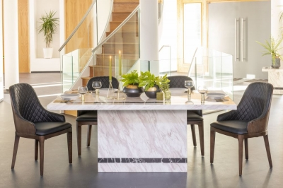 Urban Deco Rome Cream Marble 180cm Rectangular Dining Set with Madrid Black Chairs