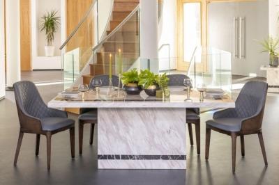 Urban Deco Rome Cream Marble 180cm Rectangular Dining Set with Madrid Grey Chairs