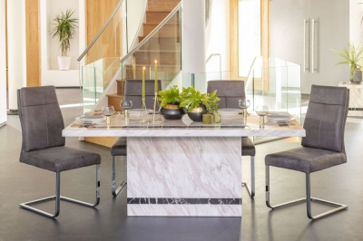 Urban Deco Rome Cream Marble 200cm Rectangular Dining Set with Donatella Grey Chairs