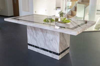 Urban Deco Rome Cream Marble 200cm Rectangular Dining Table