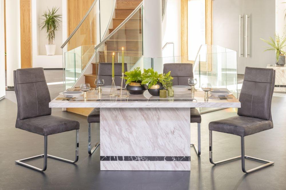 Urban Deco Rome Cream Marble 160cm Rectangular Dining Set with Donatella Grey Chairs