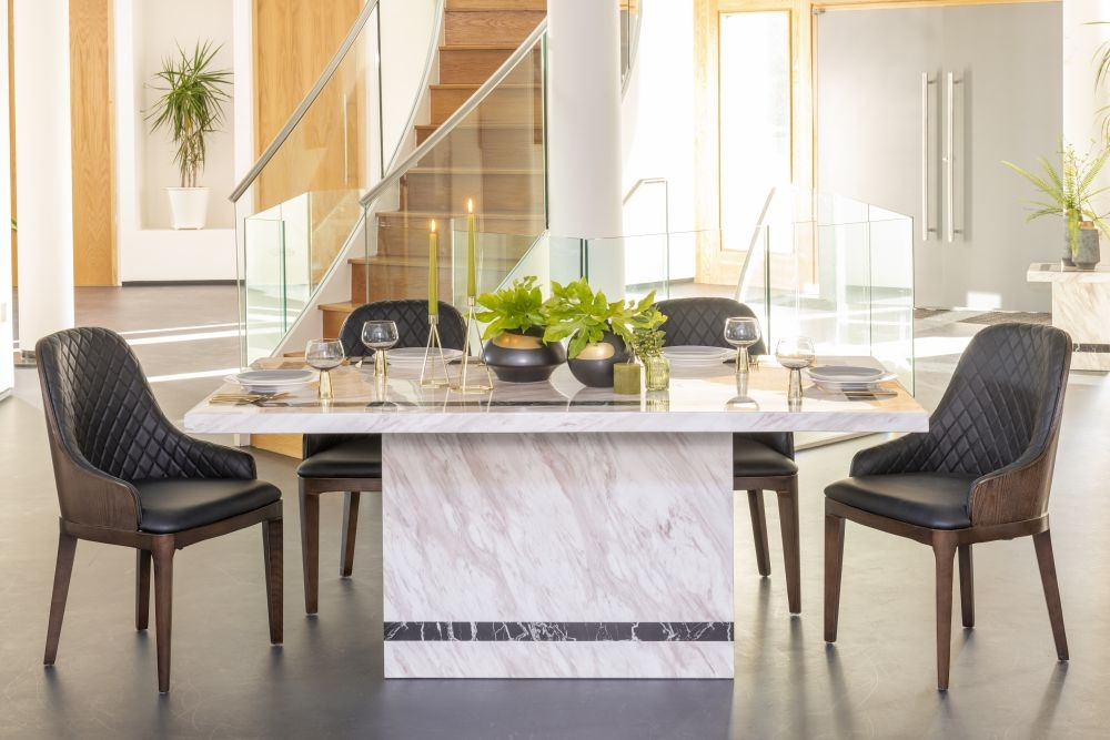 Urban Deco Rome Cream Marble 160cm Rectangular Dining Set with Madrid Black Chairs