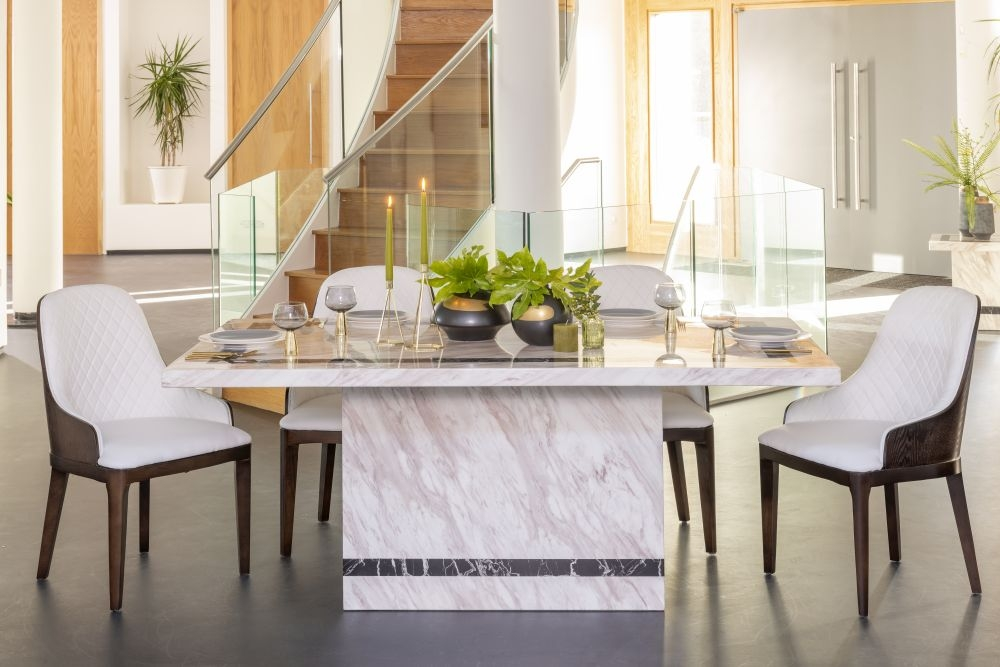 Urban Deco Rome Cream Marble 160cm Rectangular Dining Set with Madrid White Chairs