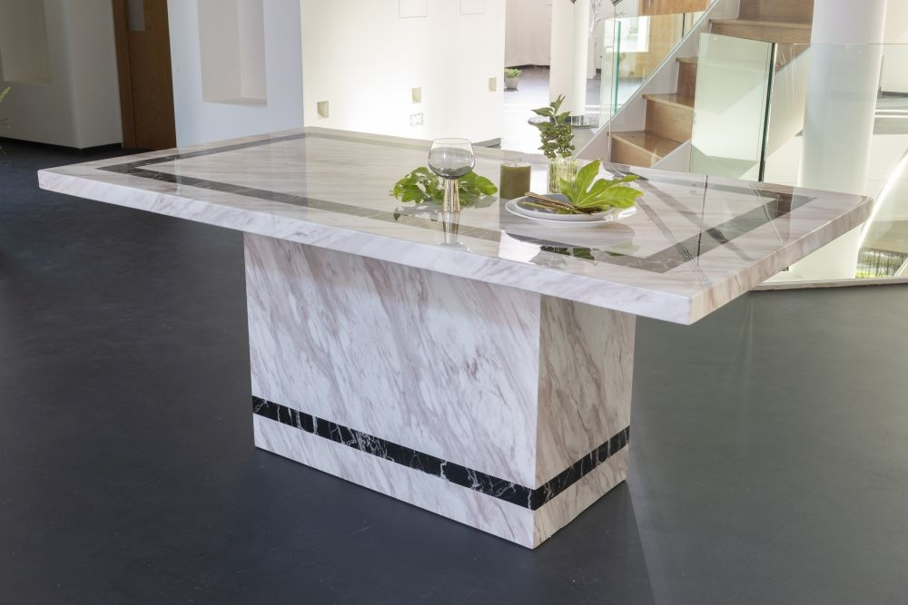 Urban Deco Rome 160cm Cream Marble Dining Table Cfs Furniture Uk