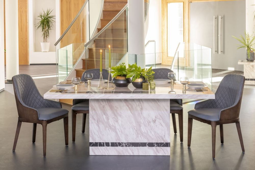 Buy Urban Deco Rome Cream Marble 180cm Dining Table with 4 Madrid Grey Chairs and Get 2 Extra Chairs Worth £328 For FREE