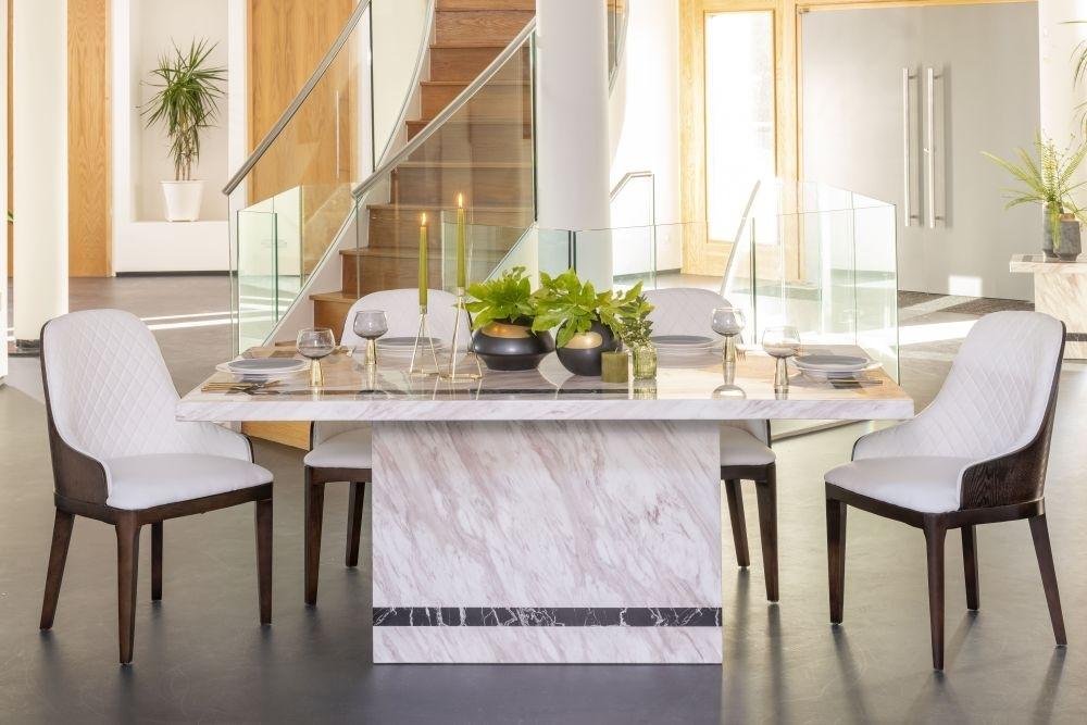 Urban Deco Rome Cream Marble 200cm Rectangular Dining Set with Madrid White Chairs