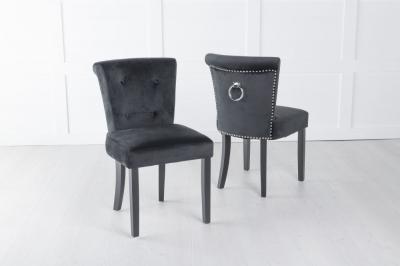Sandringham Black Velvet Ring Back Accent Dining Chair
