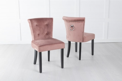 Sandringham Pink Velvet Ring Back Accent Dining Chair
