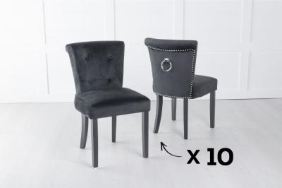 Set of 10 Sandringham Black Velvet Ring Back Accent Dining Chair