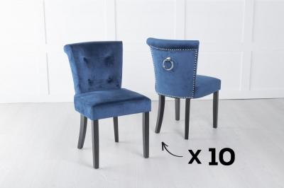 Set of 10 Sandringham Blue Velvet Ring Back Accent Dining Chair