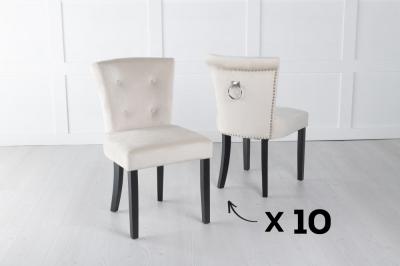 Set of 10 Sandringham Champagne Velvet Ring Back Accent Dining Chair