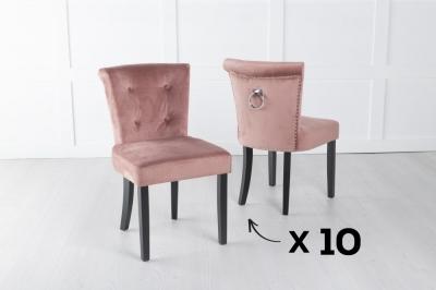 Set of 10 Sandringham Pink Velvet Ring Back Accent Dining Chair
