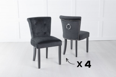 Set of 4 Sandringham Black Velvet Ring Back Accent Dining Chair