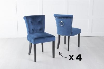 Set of 4 Sandringham Blue Velvet Ring Back Accent Dining Chair