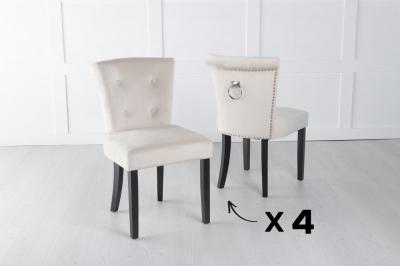 Set of 4 Sandringham Champagne Velvet Ring Back Accent Dining Chair