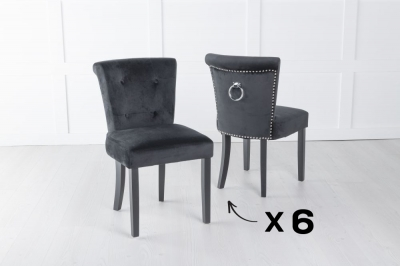 Set of 6 Sandringham Black Velvet Ring Back Accent Dining Chair