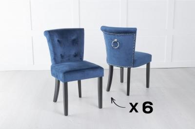 Set of 6 Sandringham Blue Velvet Ring Back Accent Dining Chair