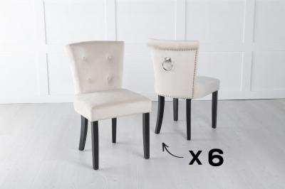Set of 6 Sandringham Champagne Velvet Ring Back Accent Dining Chair