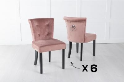 Set of 6 Sandringham Pink Velvet Ring Back Accent Dining Chair