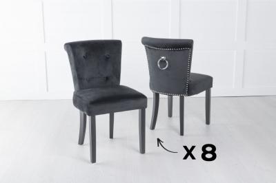 Set of 8 Sandringham Black Velvet Ring Back Accent Dining Chair