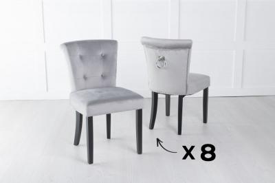 Set of 8 Sandringham Light Grey Velvet Ring Back Accent Dining Chair