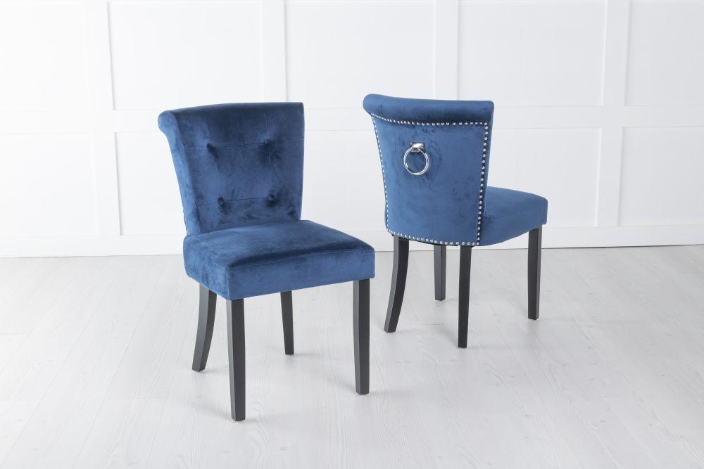Sandringham Blue Velvet Ring Back Accent Dining Chair
