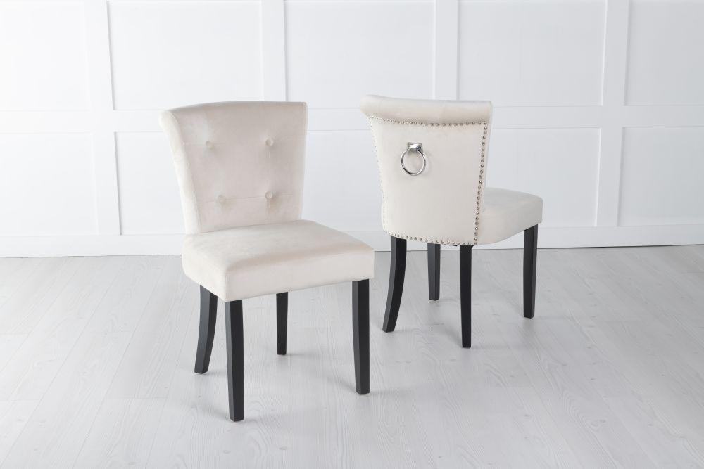Sandringham Champagne Velvet Ring Back Accent Dining Chair