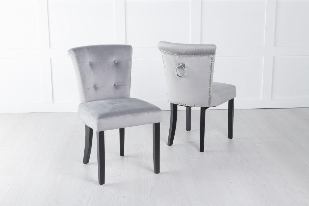 Sandringham Light Grey Velvet Ring Back Accent Dining Chair