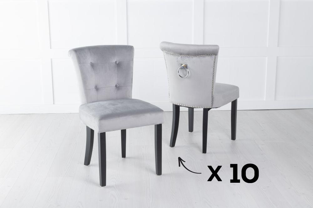 Set of 10 Sandringham Light Grey Velvet Ring Back Accent Dining Chair