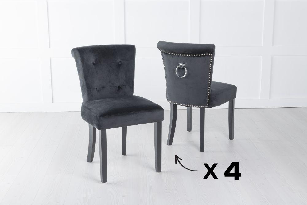 Set of 4 Sandringham Black Velvet Ring Back Accent Dining Chair