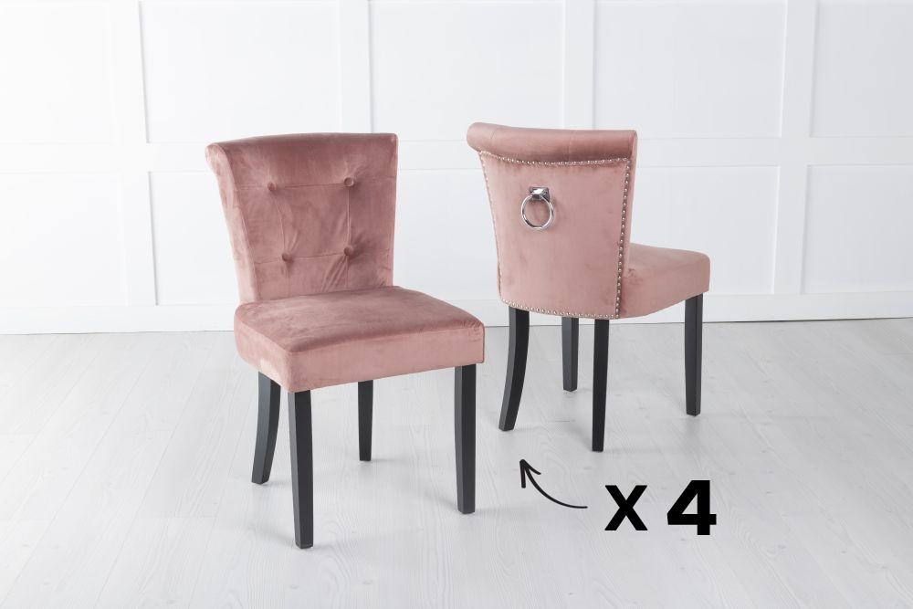 Set of 4 Sandringham Pink Velvet Ring Back Accent Dining Chair