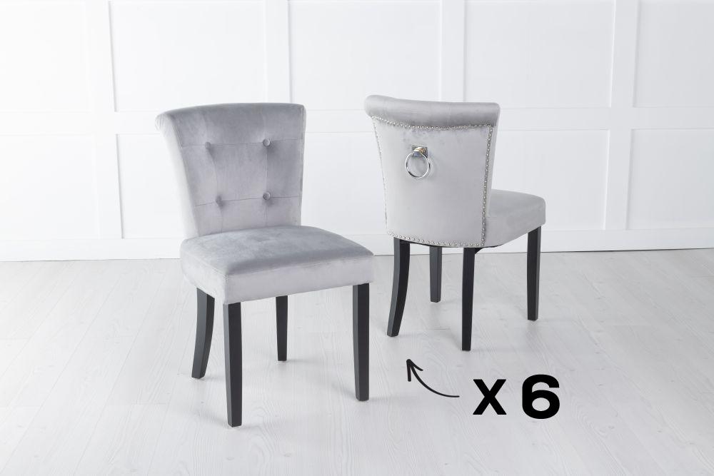 Set of 6 Sandringham Light Grey Velvet Ring Back Accent Dining Chair