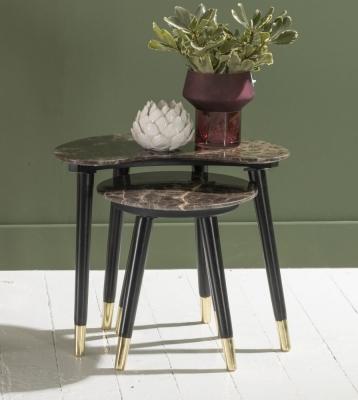 Scandi Brown Emperador Marble Set of 2 Tables