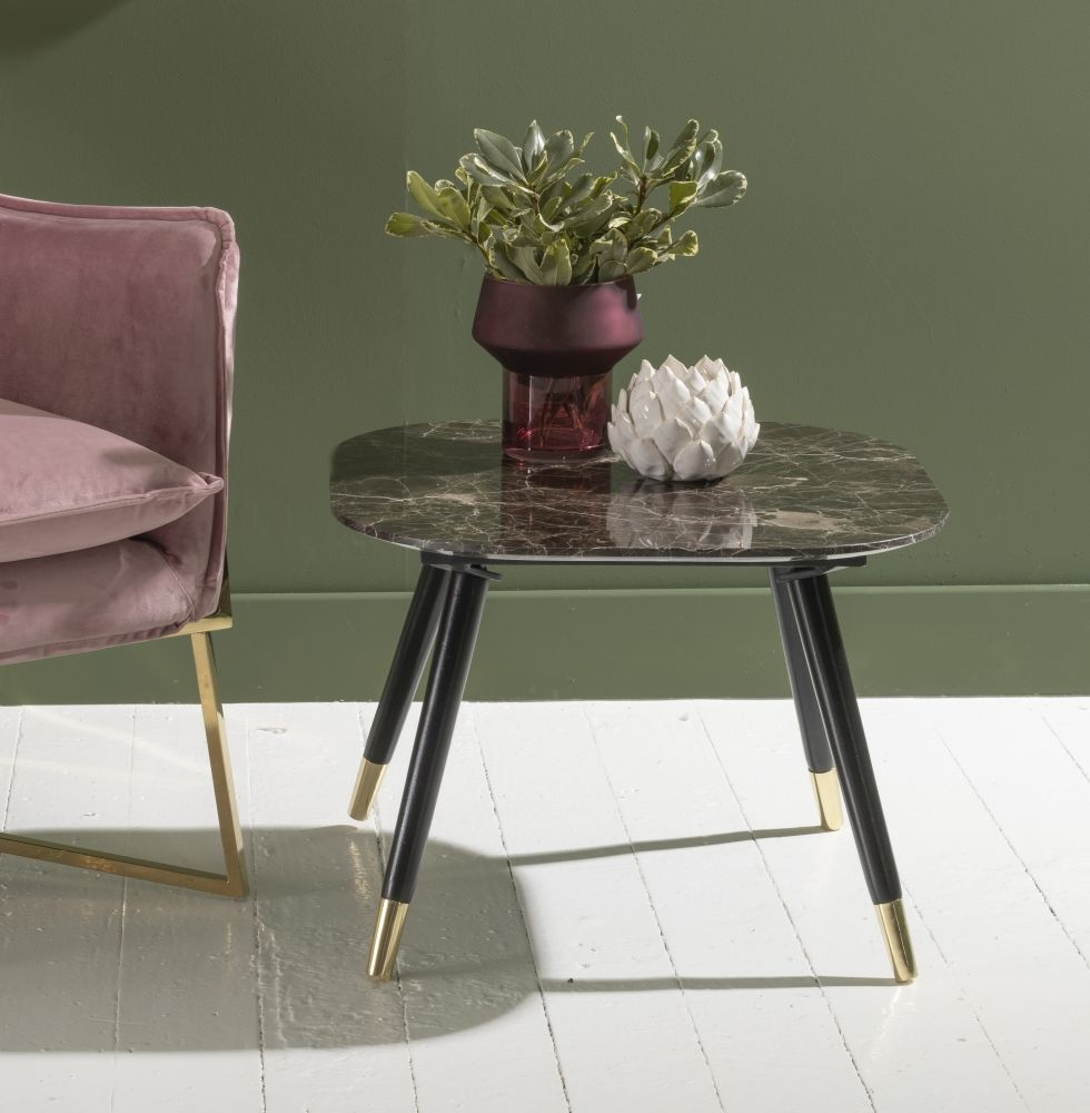 Scandi Brown Emperador Marble Side Table