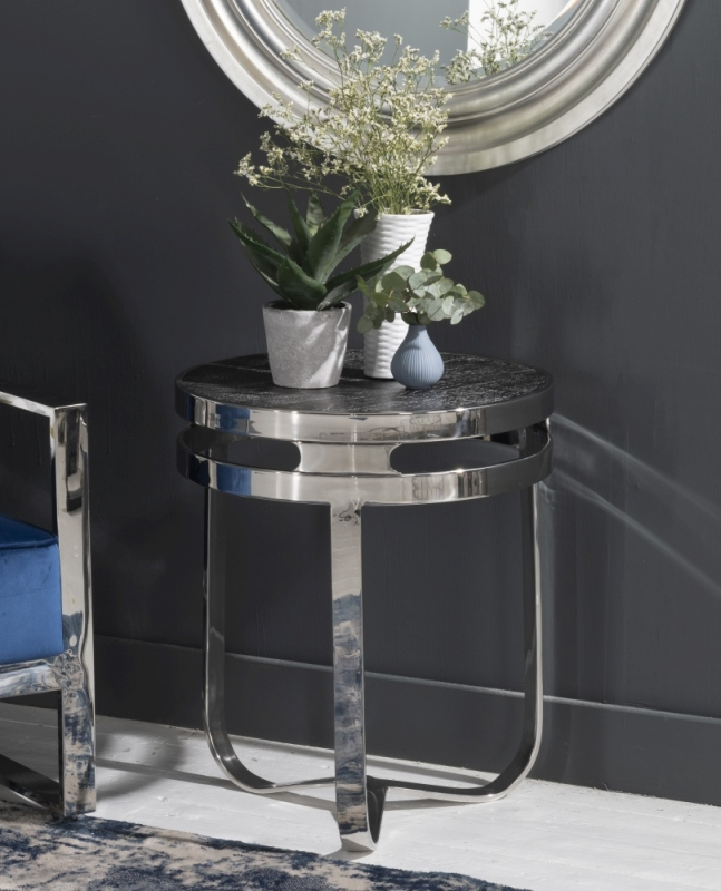Phoenix Stainless Steel Chrome Round Wooden Top Side Table